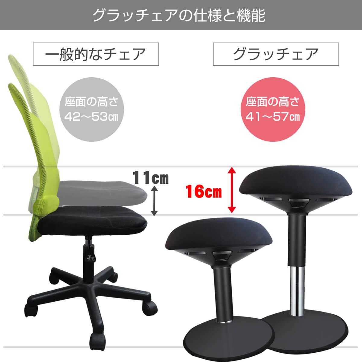 一般的な椅子より座面が高い